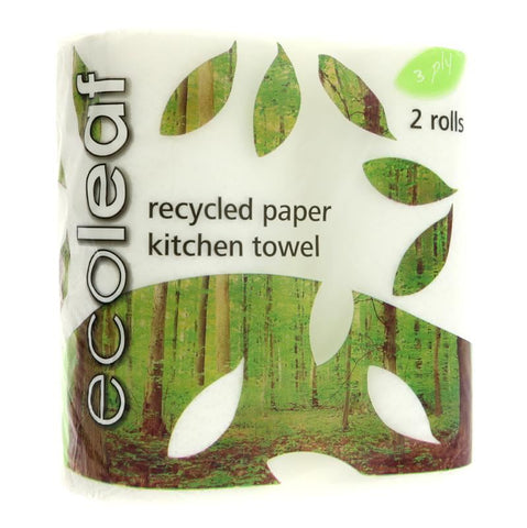 Ecoleaf By Suma | Ecoleaf 3 Ply Kitchen Towels | 1 X 2 Rolls. This Product Is :- Vegan