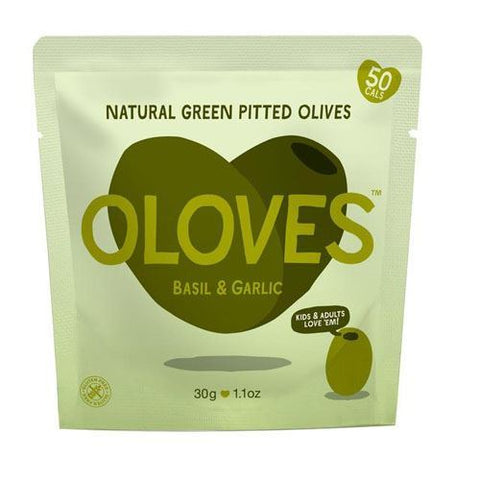 Oloves | Pitted Basil & Garlic Green Olives Snack | 1 x 30g