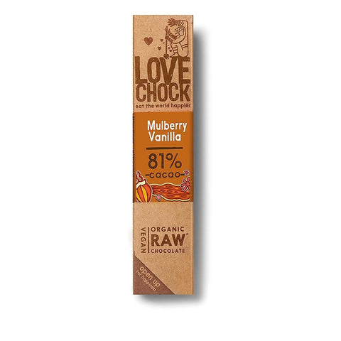 Lovechock | Raw Organic Chocolate Mulberry & Vanilla | 1 x 40g