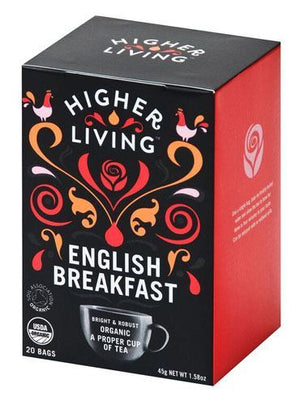 Higher Living | English Breakfast Organic Tea | 1 x 20 Bags | Higher Living