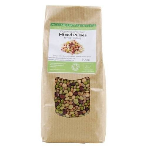 Aconbury Sprouts | Organically Grown Mixed Beans & Pulses For Sprouting | 1 X 500g. Sold By Superfood Market