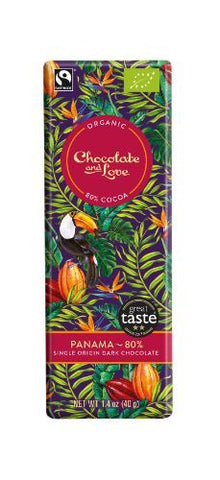 Chocolate And Love Ltd | Chocolate & Love  Panama Extra Dark 80% Chocolate | 1 X 40g. Sold By Superfood Market