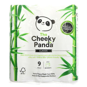 The Cheeky Panda | Natural Bamboo Toilet Tissue | 1 X 9 Rolls. This Product Is :- Vegan