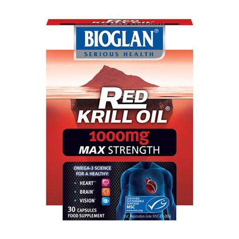 Bioglan | Red Krill Oil 1000mg Capsules - Double Strength | 1 x 30s