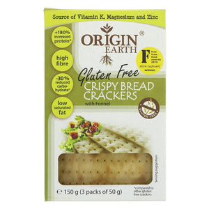 Origin Earth | Gluten Free Crackers Fennel | 1 X 150g. This Product Is :- Gluten Free,vegan
