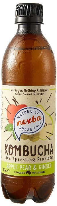 Nexba | Apple Pear & Ginger Kombucha | 1 X 450ml. Sold By Superfood Market