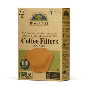 If You Care | Coffee Filters No.4 - Large Unbleached | 1 x 100s | If You Care