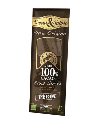 Saveurs & Nature | 100% Cocoa Sugar Free Chocolate - Peru | 1 x 100g
