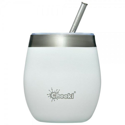 Cheeki | Insulated Wine Tumbler With Straw Spirit White | 1 X 220ml. Sold By Superfood Market