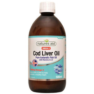 Natures Aid | Cod Liver Oil Liquid | 1 x 500ml | Natures Aid