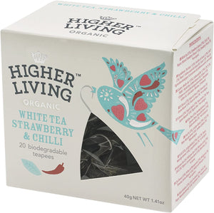 Higher Living | Organic White Tea Strawberry Chilli | 1 x 20 Bags
