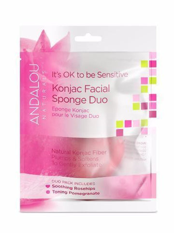 Andalou | Sensitive Konjac Facial Sponge Duo | 1 x 2 Pack