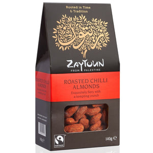 Zaytoun | Fairtrade Roasted Chilli Almonds | 1 X 140g. Sold By Superfood Market