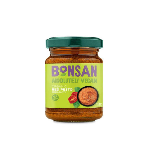 Bonsan | Organic Vegan Red Pesto | 1 X 130g. Sold By Superfood Market