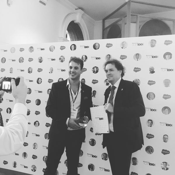 Image of Lockabox Limited founder Peter Morris with John Pierce of The Made In Britain Campaign at the Manufacturer Top 100 awards 2016