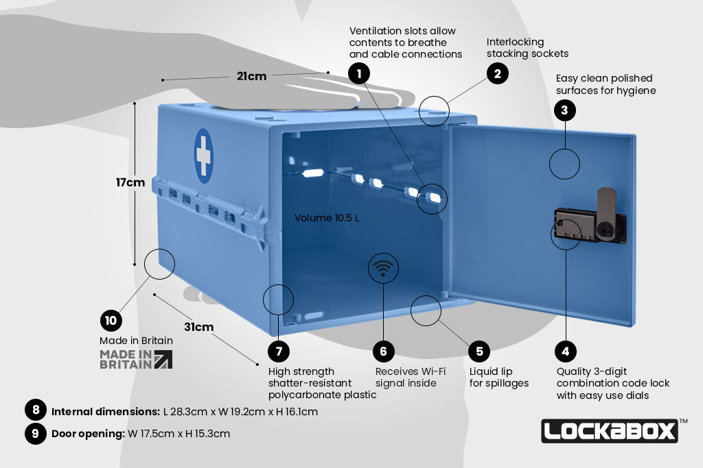 Lockable Medicine Box. Lockabox One™ Medi Blue. Key Features Keep Medicines Safe and Secure With The Lockable Storage Box.