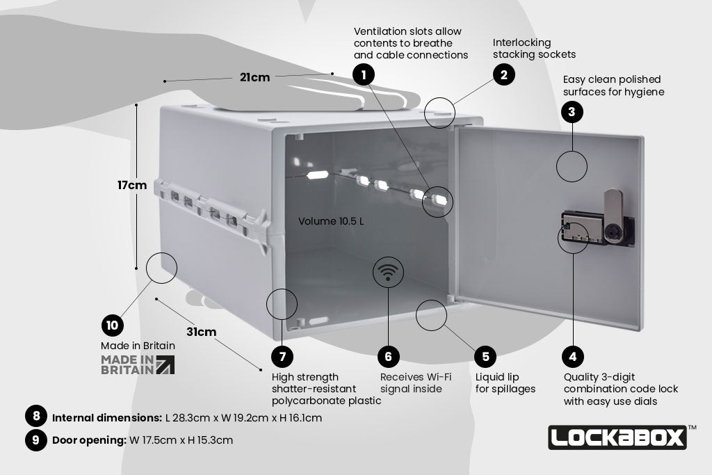 Fridge Safe. Lockabox One Opal White. The Lockable Storage Box. Key Features, High Quality Food Safe Storage Box