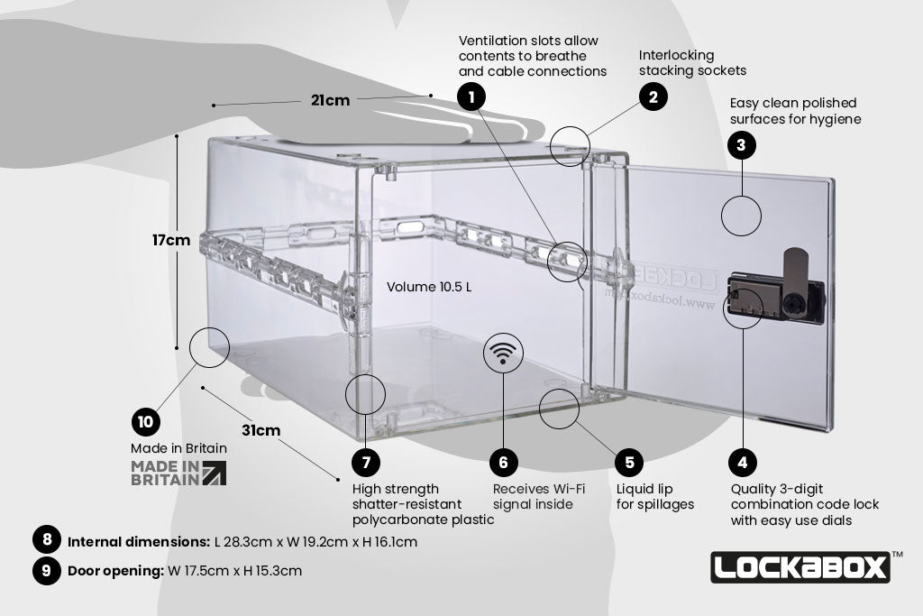 The Lockabox One™ Crystal depicting the key features and design of the storage box.