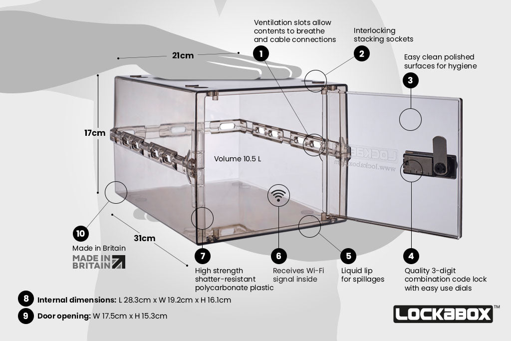 Clear Locking Box. The Lockabox One™ Ice Grey. Key Features Of This Compact Lockable Storage Box.