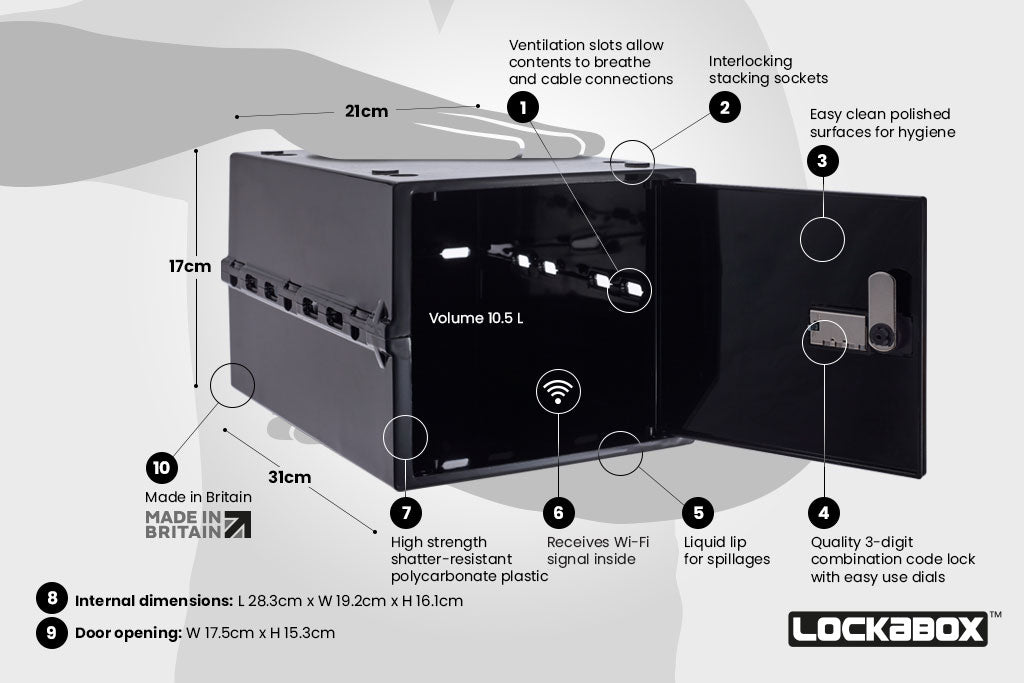 Hygienic Storage Box With Lock. The Lockabox One™ Jet. Key Features Of The Lockable Storage Box