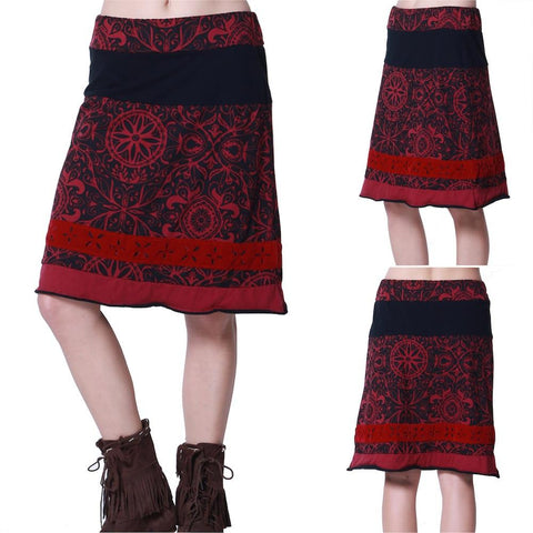 SMALL / BOURGOGNE,Hippy chick Skirt Taraka,WeRFunky.