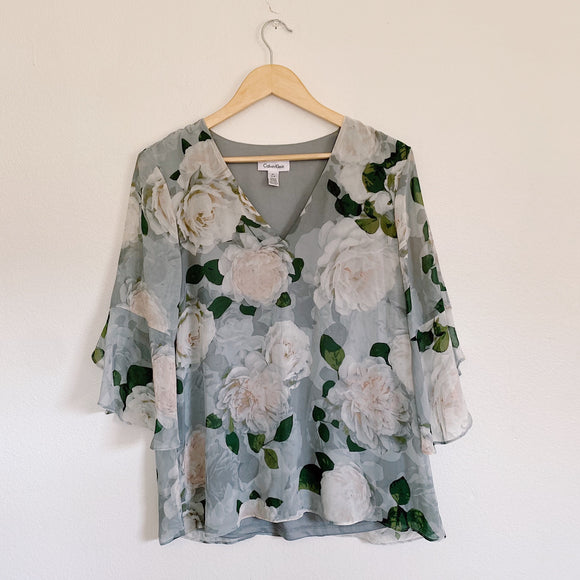 Calvin Klein Floral Sheer Blouse Medium