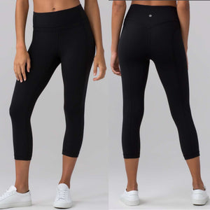 "Lululemon Black Pushing Limits Crop (Nulo 21"")- Size 4"
