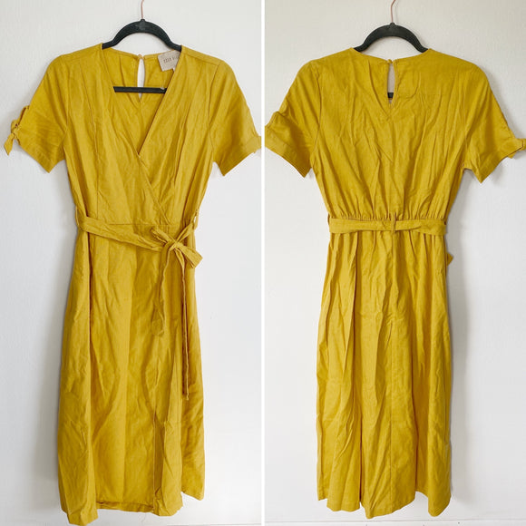 Moon River Fall Mustard Wrap Midi Linen Dress Medium