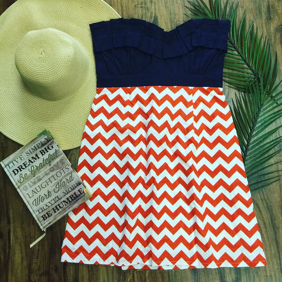 Gameday Dress Blue & Orange Strapless