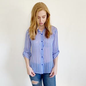 Chico's Sheer Button down Stripe Blouse