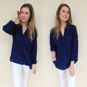 Navy Peasant Blouse