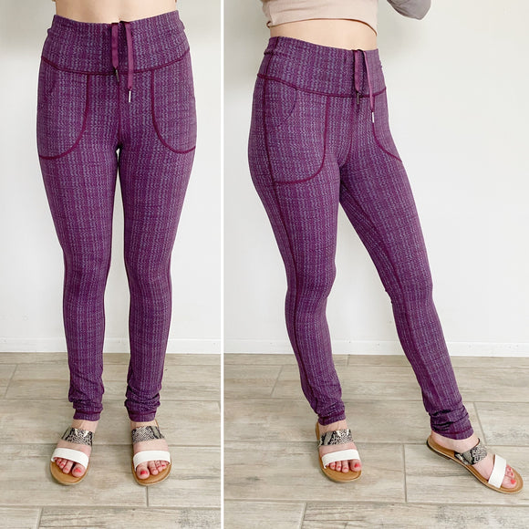 Lululemon Plum Skinny Will Textured Pant- Size 6/8