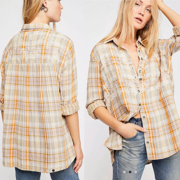Free People Magical Plaid Embroidered Shirt Small