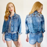 Francesca's Denim Embroidered Jean Jacket Small