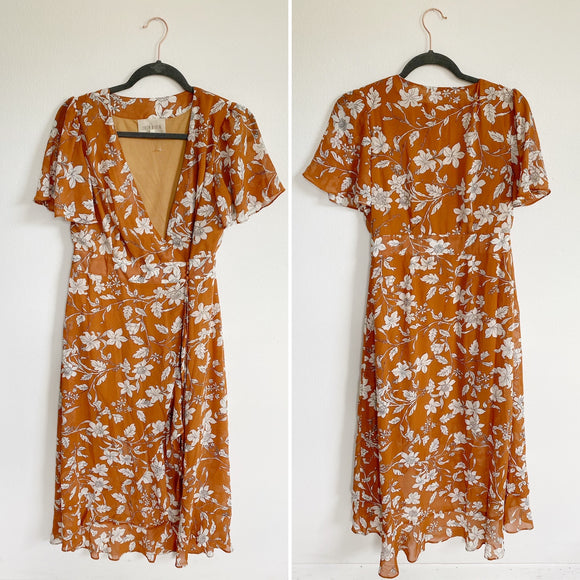 Moon River Burnt Orange Floral Wrap Dress Medium