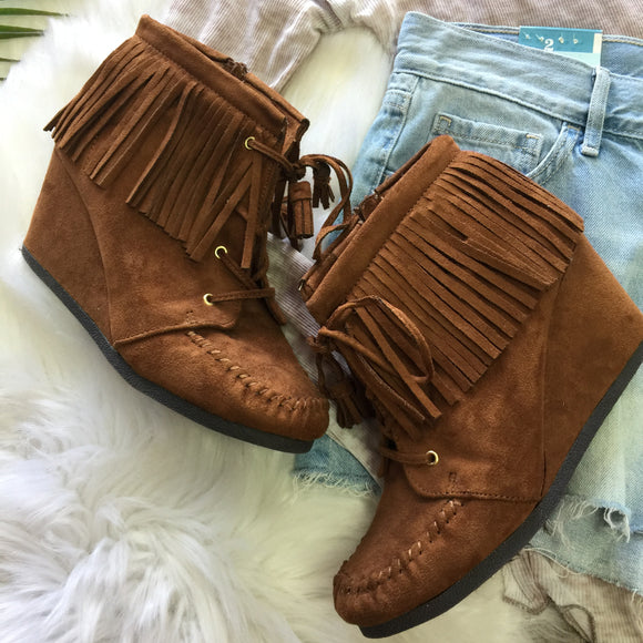 Fringed Wedge Booties