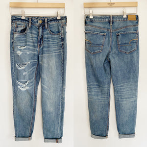 American Eagle Tom Girl Distressed Jeans New 2 Regular