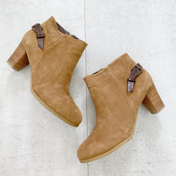 Bass & Co Leather Suede Ayda Booties 9