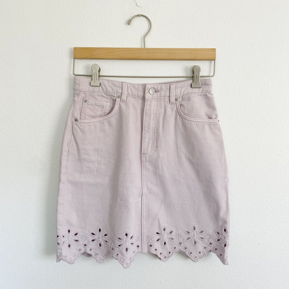 H&M Lavender High-rise Denim Eyelet Skirt NWT 4