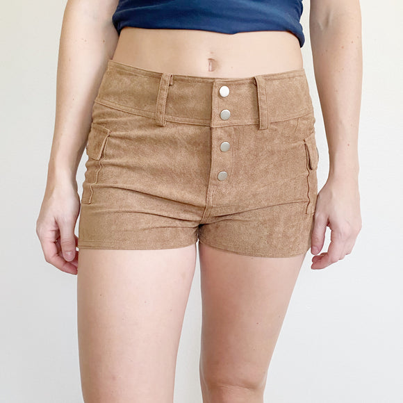 Suede Button Up Shorts Medium Tan