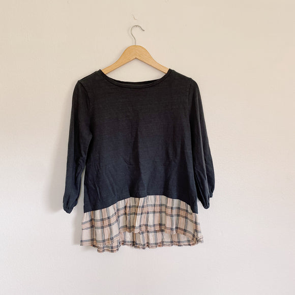 LOFT Prep Plaid Ruffle Blouse Medium