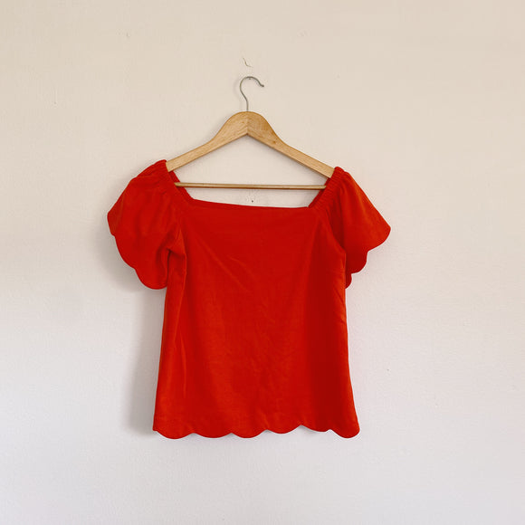 Banana Republic Scallop Orange Blouse XS
