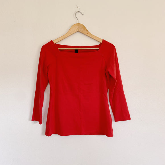 J. Crew Red Solid Top Large