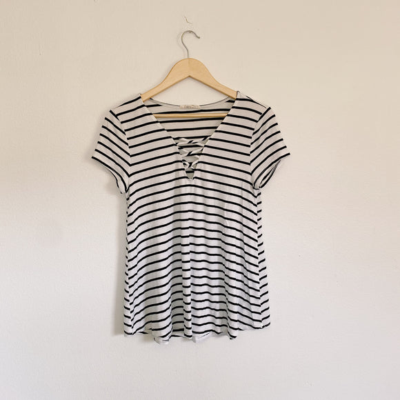 Striped West K Short Sleeve Top Medium