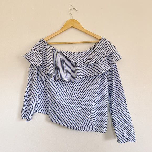 GAP one shoulder stripe Ruffle Blouse Large