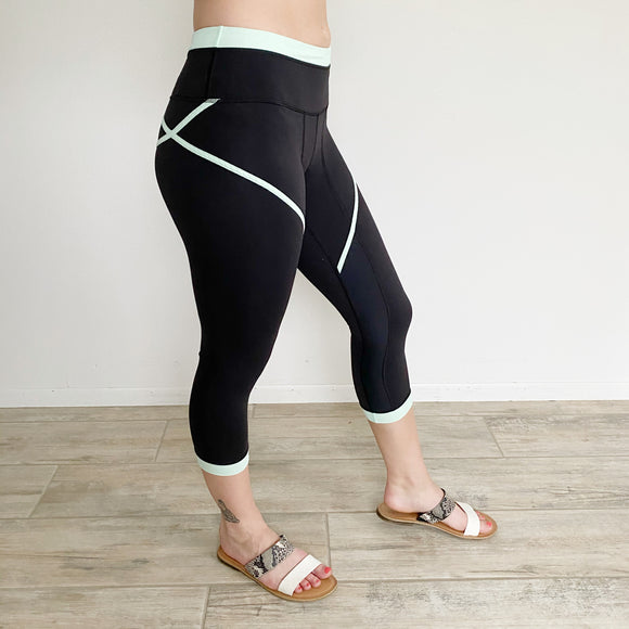 Lululemon Roll Out Crop Legging Mint- Size 4