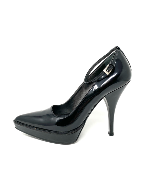 PRADA Patent Leather Pointed Toe Stiletto Heel 38