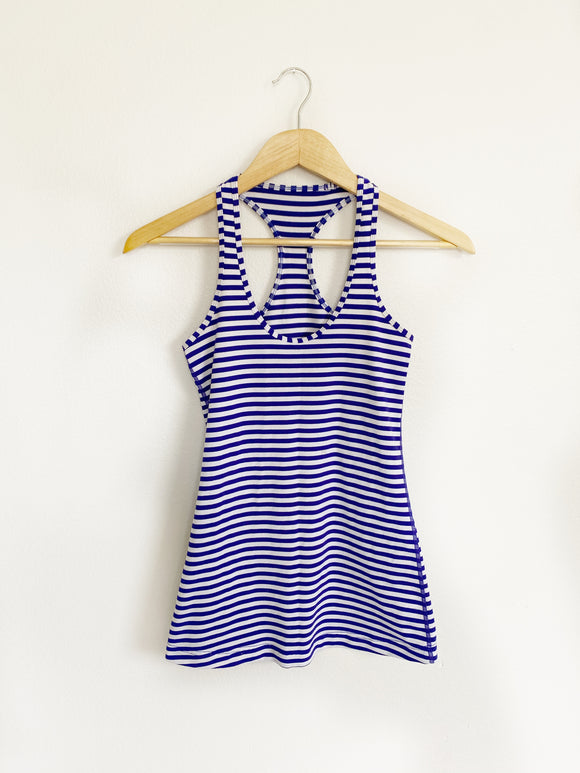 Lululemon Blue and White Striped Cool Racerback ll- Small