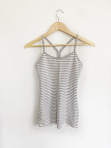 Lululemon Grey and White Striped Power Y Tank- Size 4
