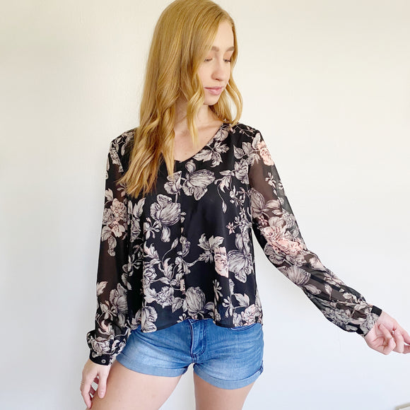 Floral Long Sleeve Blouse Size Small